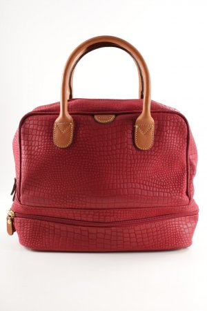 Brics Carry Bag dark red-cognac-coloured reptile print