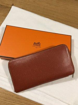 Hermès Portemonnee donker oranje Leer