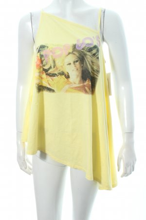 Brigitte Bardot A-Linien Top blassgelb Motivdruck Casual-Look
