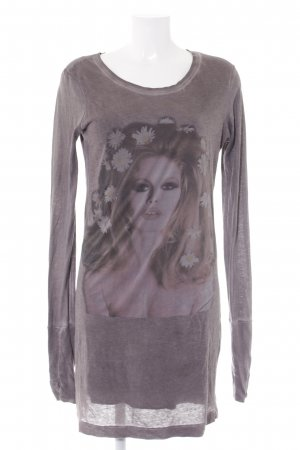 Brigitte Bardot Langarmkleid rosé-graubraun platzierter Druck Casual-Look
