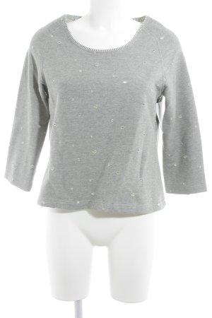 Brigitte Büge Rundhalspullover grau-weiß Punktemuster Casual-Look