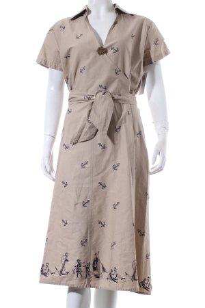 Brigitte von Boch Hemdblusenkleid beige-dunkelblau Allover-Druck Casual-Look