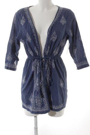 Brigitte von Boch Blusa a tunica blu-bianco motivo floreale stile spiaggia