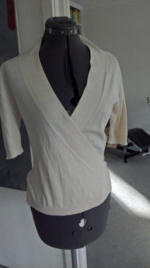 Cache-cœur en tricot blanc cassé tissu mixte