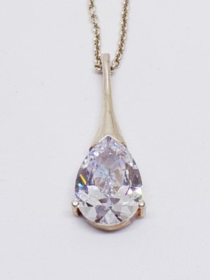 Brillant Schliff Bergkristall Anhänger 925 Sterling Silber Kettenanhänger collier