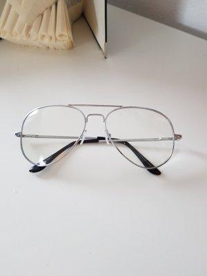 Brille Pilotenbrille mit Fensterglas