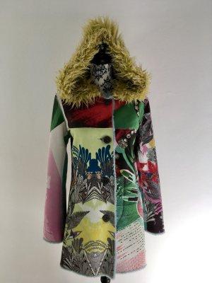 bringt Farbe in den Winter - cooler Plüschmantel mit Kapuze - kuschelig weich farbenfroh auffallend