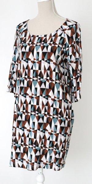 Broadway NYC Kleid M 38 grafisches Muster weiß braun blau schwarz