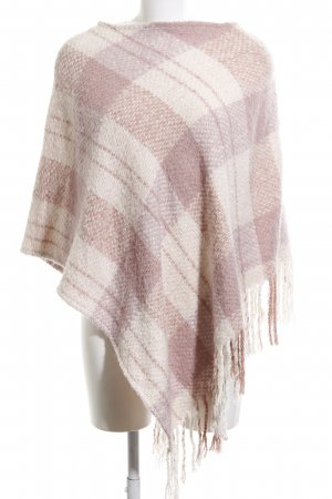 Broadway Poncho pink-cream check pattern casual look