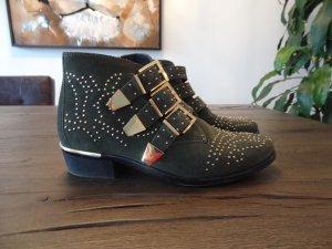 BRONX Biker-Boots, Gr. 37, Dunkelgrün, goldene Nieten!