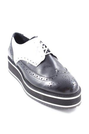 Bronx Zapatos Budapest negro-blanco estilo «business»