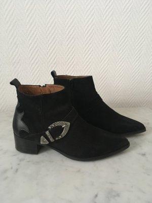 Bronx Cowboy-/Bikerstiefelette/Boots in schwarz aus Wildleder