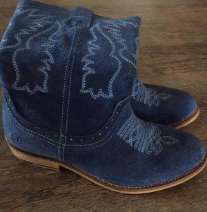 Bronx Botas estilo vaquero azul Gamuza