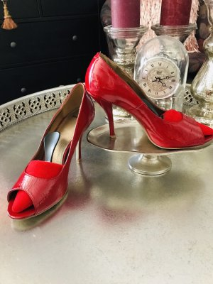 Bronx high heels rot Lackleder peeptoes gr. 40