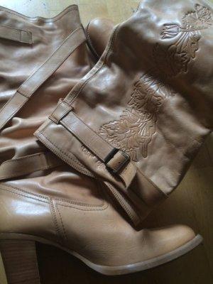 Bronx hohe Leder Stiefel Sand Aprikot Gr. 40 - wie neu