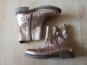 Bronx Leder Boots Biker Stiefel Rosé Gold Nieten NP 159€