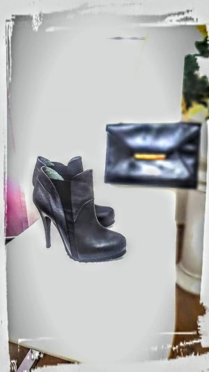 BRONX Leder High Heels Halbstiefel Größe 39