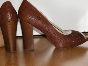 Bronx Peep Toes Braun High Heels Loafer Cut out Leder Echt Gr. 40