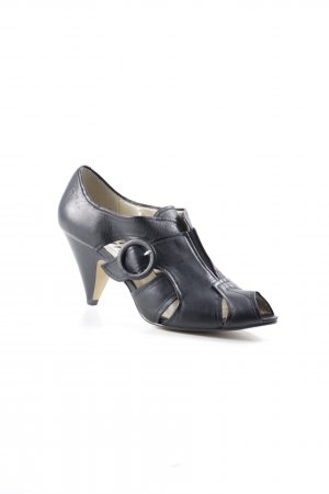 Bronx Peeptoe Pumps schwarz Matt-Optik