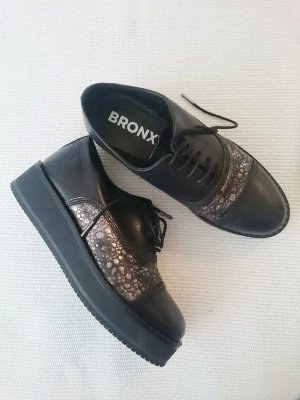 Bronx Lace Shoes black-silver-colored leather