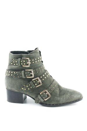Bronx Reißverschluss-Stiefeletten goldfarben-khaki Street-Fashion-Look