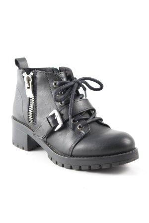 Bronx Reißverschluss-Stiefeletten schwarz schlichter Stil