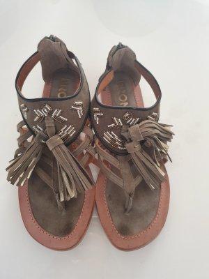 Bronx Sandalen met bandjes en hoge hakken khaki
