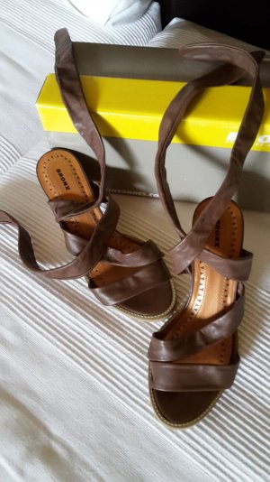 Bronx Strapped High-Heeled Sandals bronze-colored leather