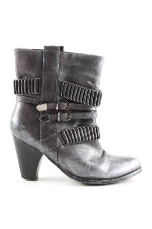 Bronx Schlüpf-Stiefeletten schwarz-silberfarben extravaganter Stil
