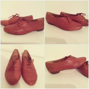 Bronx Low Shoes dark orange-brown leather