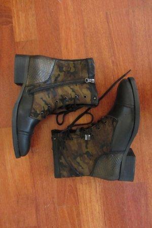 BRONX Schnürstiefelette Leder Fell Schwarz Camouflage Gr. 41 NEU