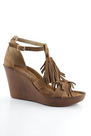 Bronx Wedges Sandaletten hellbraun-braun Gypsy-Look