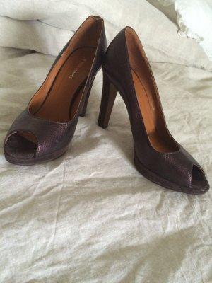 Boss Orange Peep Toe Pumps bronze-colored leather