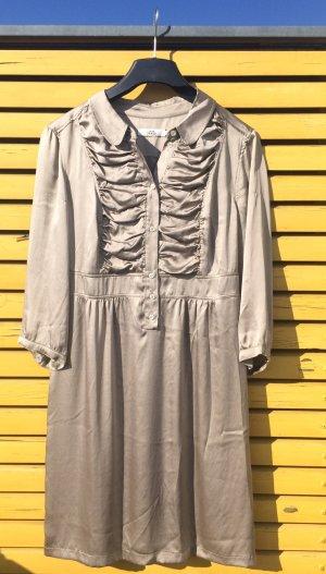 Bronze Seidenkleid von 0039 ITALY glänzendes Luxuskleid braun