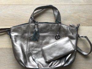 Bronze Trend Echtleder Handtasche und Geldbörse