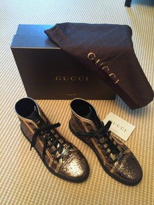 Bronzefarbende Glitzer Gucci Sneakers