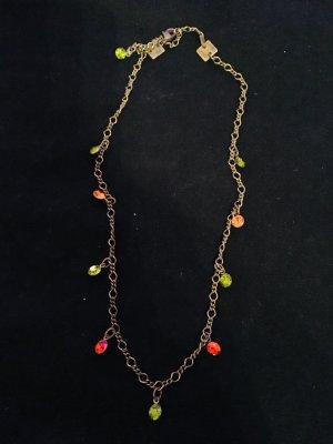 Bronzefarbene Gliederkette mit orangenen und grünen Steinchen