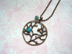 Bronzefarbene Kette Baum Vintage türkis