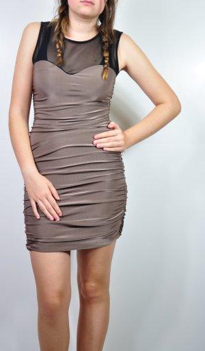 Bronzefarbenes Kleid mit Raffung