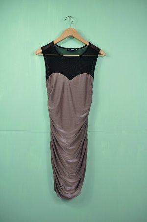 Bronzefarbenes Kleid mit Raffungen an den Seiten