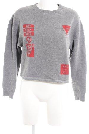 Brooklyn Industries Sweatshirt hellgrau-hellrot Schriftzug gedruckt Casual-Look