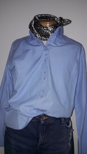 Brookshire Blouse à manches longues bleu clair-bleu azur coton