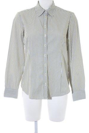 Brookshire Langarmhemd weiß-olivgrün Streifenmuster Elegant