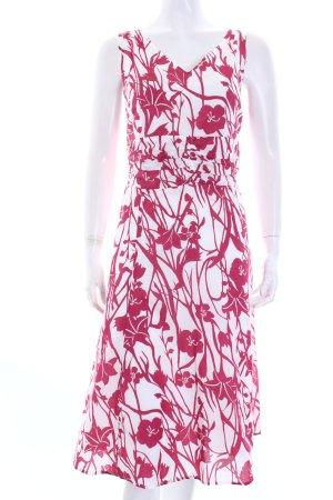 Brookshire Midikleid weiß-magenta florales Muster Romantik-Look