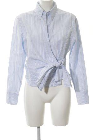 Brookshire Camicetta aderente blu-bianco motivo a righe stile professionale
