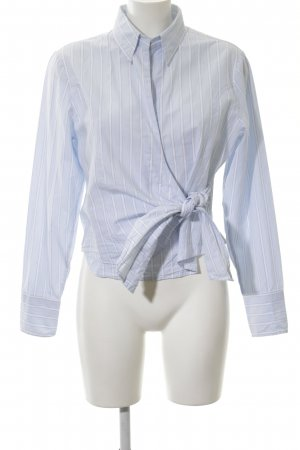 Brookshire Wraparound Blouse blue-white striped pattern business style