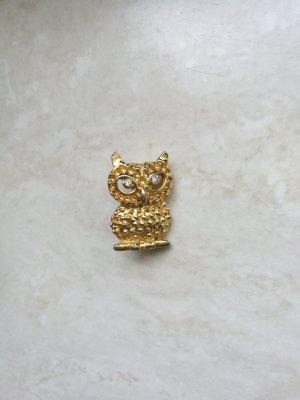 Brosche Anstecknadel Eule gold