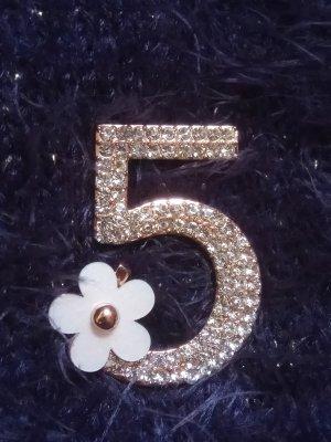 Brosche Anstecknadel Schmuck Nr 5 Fünf Blume Gold Kamelie Camellia
