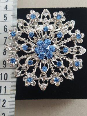 Brooch silver-colored-cornflower blue