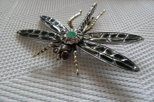 Brosche Edel-schmuck, feinste Handarbeit - Libelle 56 Gold, 84 Silber,Edelsteine
